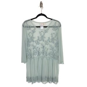 LOGO Mesh Embroidered 3/4 Sleeve Sheer Tunic M